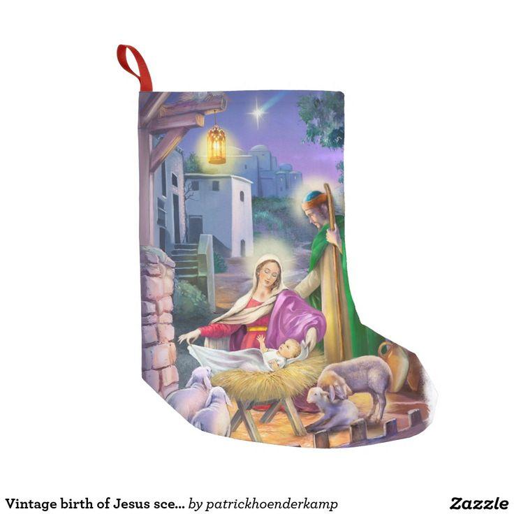 Vintage geboorte van de scène van Jesus Small Kerstsok