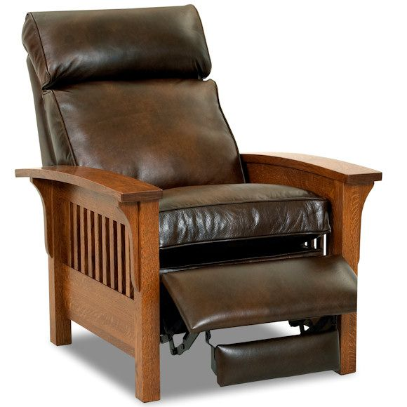 Mission Style Leather And Wood Recliner By Comfort Design