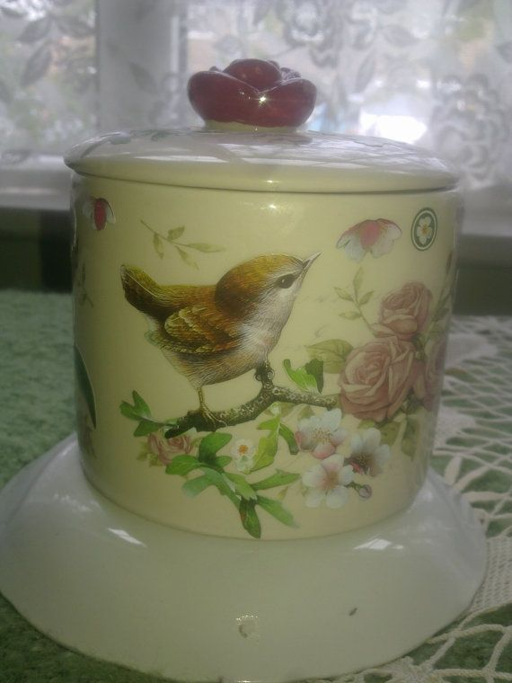 Upcycled Gisela Graham decorative floral jar for dressing table, bathroom or any non-food storage #EasyNip