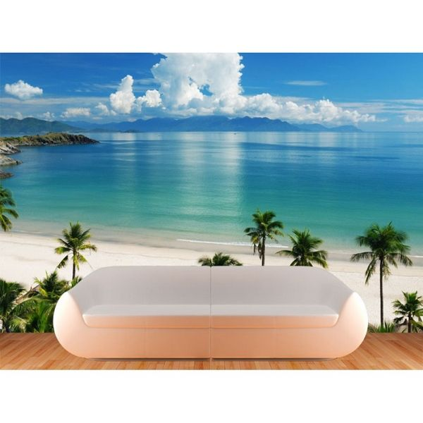 Beach mural ideas to paint on divider wall beach scene for Beach mural bedroom