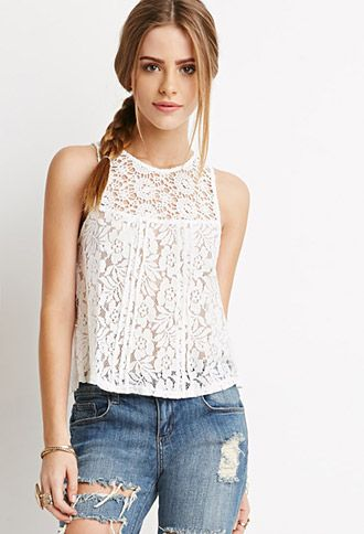 Crochet-Paneled Lace Top | Forever 21 - 2000155812
