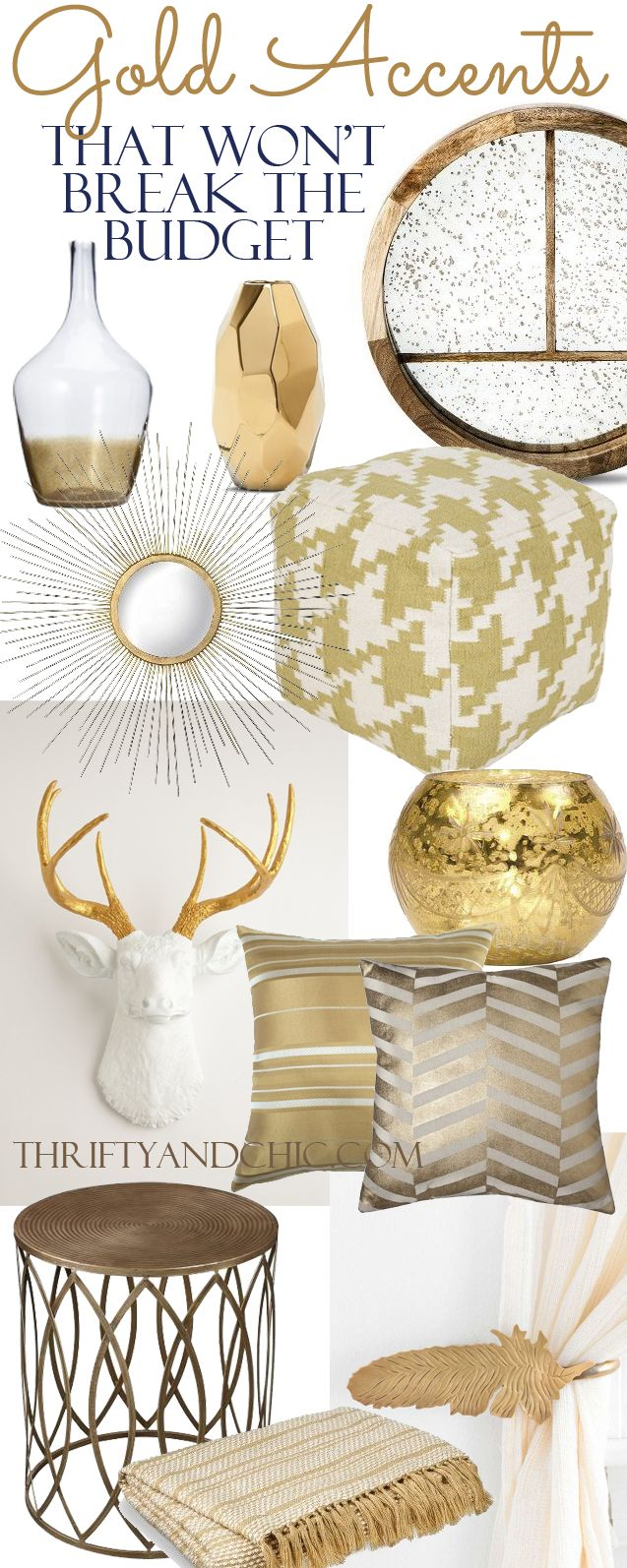 18 gold home decor pieces that won't breat the budget. Divided up into price!:
