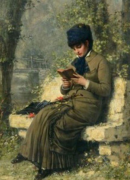femme lisant sur un banc tableau du peintre henri bouchet-doumenq