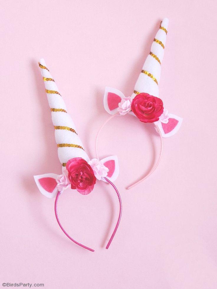 DIY Unicorn Party Headbands | Unicorn horn headband, Photo ...