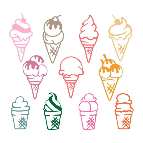 Ice Cream Cuttable Design Cut File. Vector, Clipart, Digital Scrapbooking Download, Available in JPEG, PDF, EPS, DXF and SVG. Works with Cricut, Design Space, Sure Cuts A Lot, Make the Cut!, Inkscape, CorelDraw, Adobe Illustrator, Silhouette Cameo, Brother ScanNCut and other compatible software.