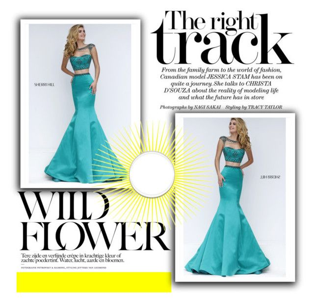"""""""Two Piece Long Sherri Hill 32364 Emerald Homecoming Dress"""" by xipowuriluh on Polyvore featuring dress and Homecoming"""