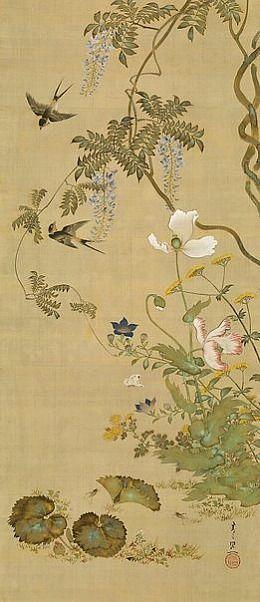 JP: Suzuki Kiitsu Birds and Flowers 1855 鈴木其一 ( 1796-1858 ), 花鳥圖