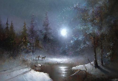 Moonlight sonata in painting by Russian artist Igor Medvedev
