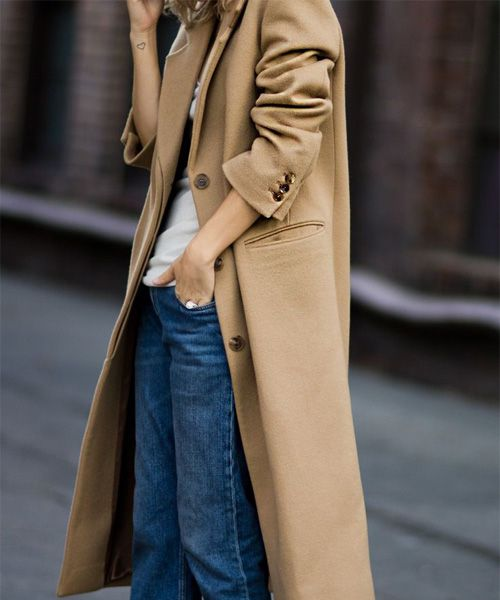 How to wear #camelcoat: jeans + t-shirt