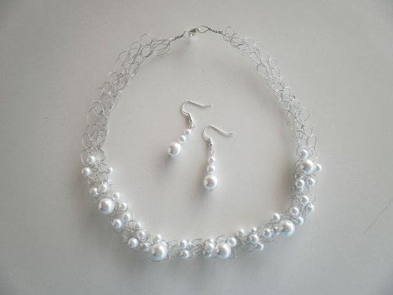 """Here Comes the Bride! White Pearl Necklace & Earrings for that """"special"""" day by JoTheGreek on www.Etsy.com"""