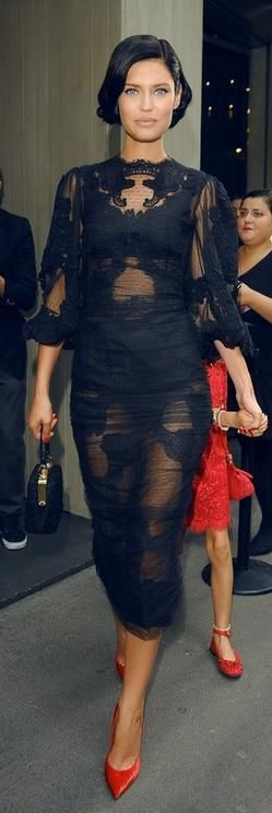 Bianca Balti in a sheer lace Dolce & Gabbana dress