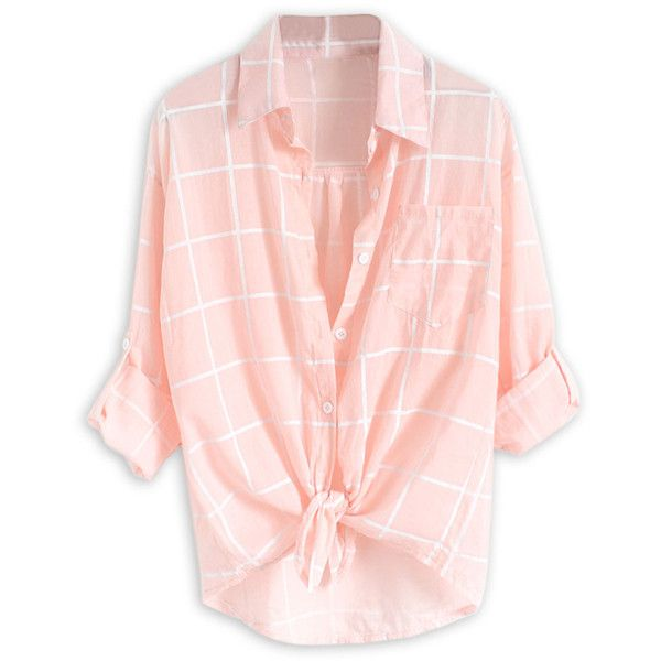 Choies Pink Plaid Print Roll Up Sleeve Semi-sheer Shirt (£12) ❤ liked on Polyvore featuring tops, shirts, pink, semi sheer top, roll top, plaid shirt, pink shirt y pink tartan shirt
