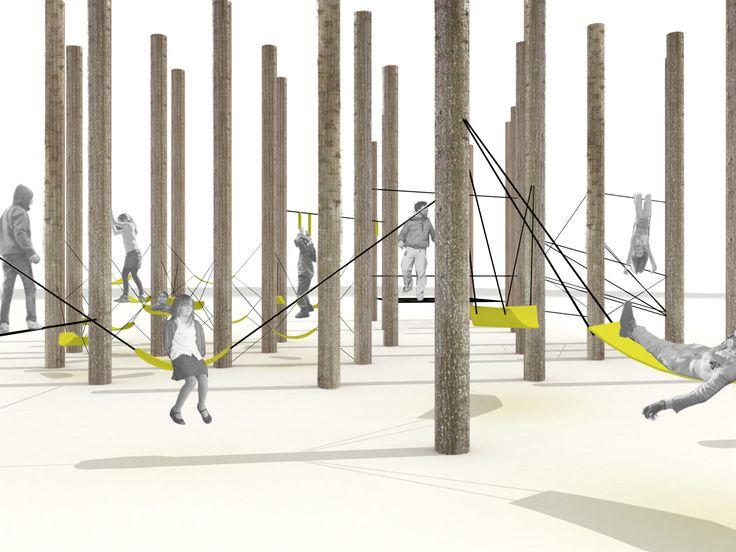 """Il progetto prevede la realizzazione di un'area giochi all'interno dell'area ristoro del Parco del Tuscolo. L'idea dell'intervento è scaturita dalla volontà di costruire un """"bosco di giochi"""" il più possibile inserito nel paesaggio del Tuscolo. Un inte..."""