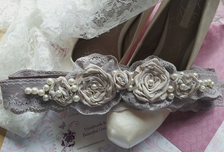 Hand made bridal belt made with antique lace and ribbon roses by Beautiful Unique