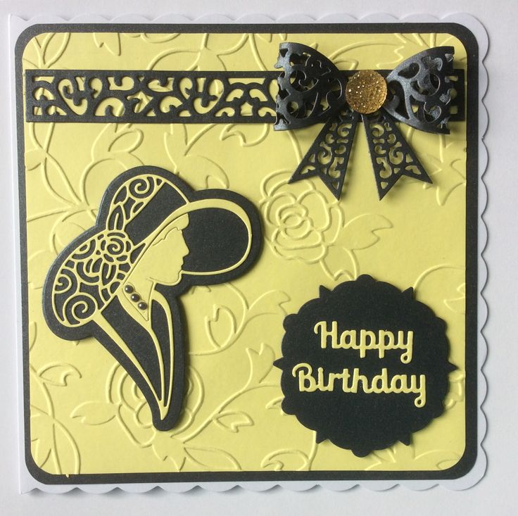 Embossing folder is Tonic's Roseanne. Tattered Lace Georgina (face & hat) die. Sue Wilson Filigree 3D bow. Sentiment from Robert Addams dies.