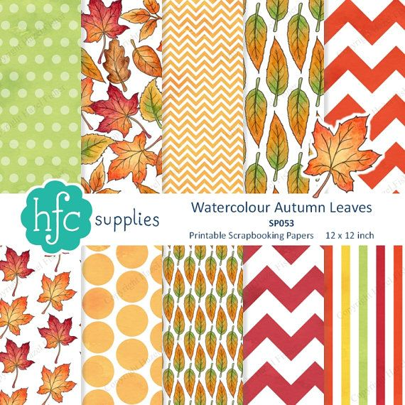 Printable Watercolour Autumn Leaves scrapbook paper set - Fall leaves, maple leaf. Set of 10 printable patterned papers with watercolour leaves and coordinating spotty, striped and chevron patterns.  Available as Instant Download from hfcSupplies on Etsy - click through for more details. #Fall #Autumn #FallPrintable #DigitalPapers