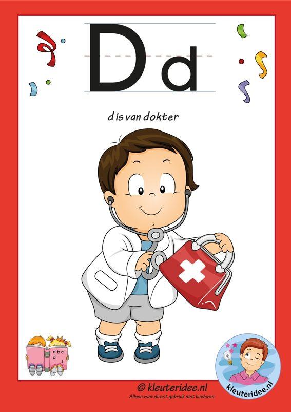 letterkaart van de letter d, letters aanbieden aan kleuters,free printable.