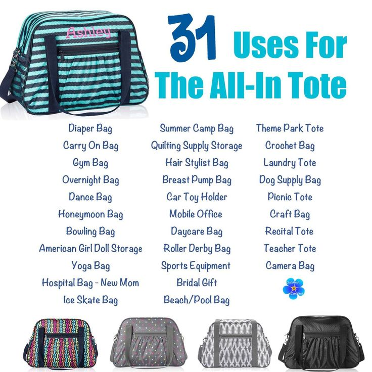 31 uses for the Thirty One All In Tote.  Love the camera bag idea!!!!