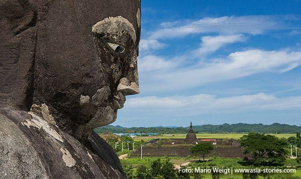MYANMAR Reisetipps: Mrauk U - Das versunkene Königreich | Hier bekommst du die besten Insidertipps für deine Reise nach Mrauk U in Myanmar: Hotels, Gästehäuser, Kosten, Anreise, Karten, Maps, Restaurants, Eintrittspreise, Reiseberichte uvm. www.MyanmarBurmaBirma.com | View von der Pizi-Pagode zur Kothaung Paya