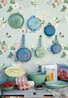 vintage pots on fantastic wallpaper