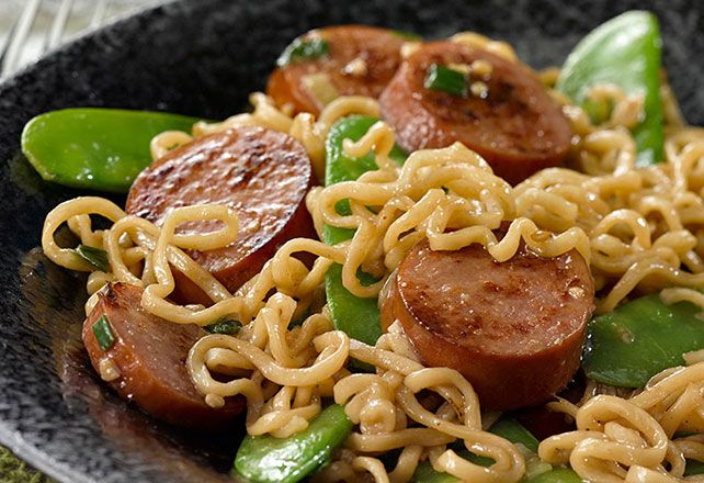 This dorm-room classic is graduating. Ditch the seasoning packet, and create your own stir-fry with garlic, snow peas, sesame dressing and turkey sausage.