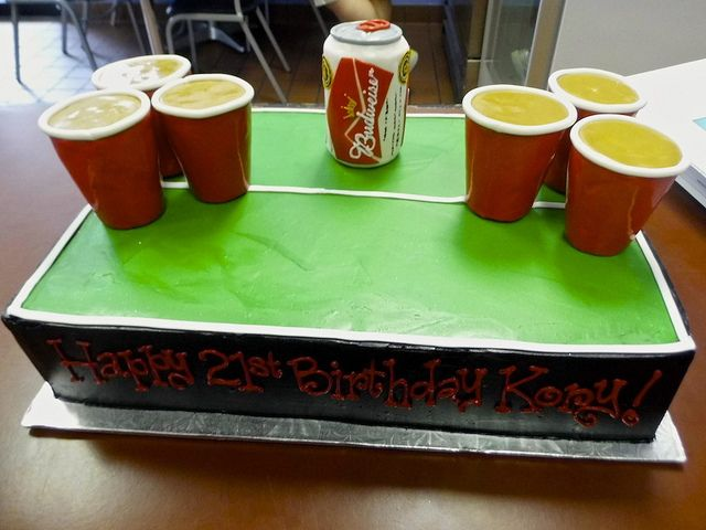 21st Birthday Cake! | Made at Sweet Treets Bakery in Austin, TX  #BeerPong #21st #Birthday #Cake