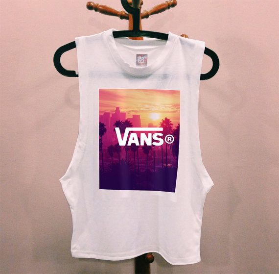 VANS LA Los Angeles DIY muscle tee cutoff tshirt hipster dope tumblr prada chanel shirt quote