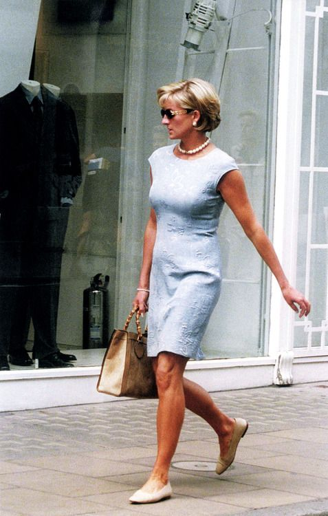 Diana, Princess of Wales, in Catherine Walker with Gucci 'Diana' bag, Bond Street, 1997.