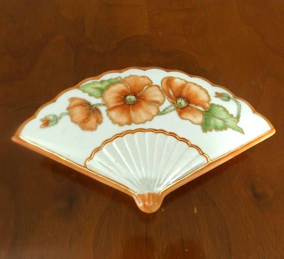 Porcelain Asian Fan ShapeTrinket Box - Orange and Gilt Poppies - 1940s Fan Box - Vintage Vanity Covered Box - Asian Decor - Opalescent