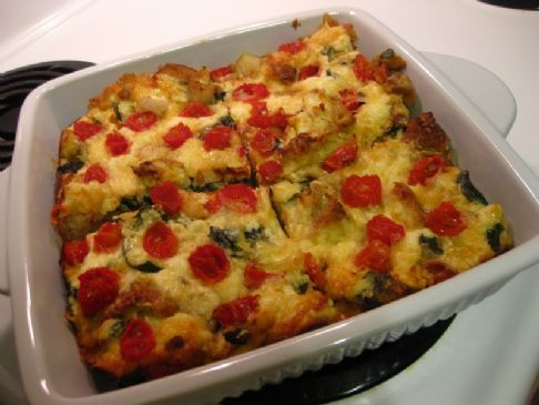Mediterranean Breakfast Casserole- a healthy, high-protein vegetarian breakfast.  Make ahead and eat through the week!