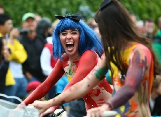 #ridecolorfully to the Fremont Solstice Parade (naked!)-Excited for my first weekend in Seattle!