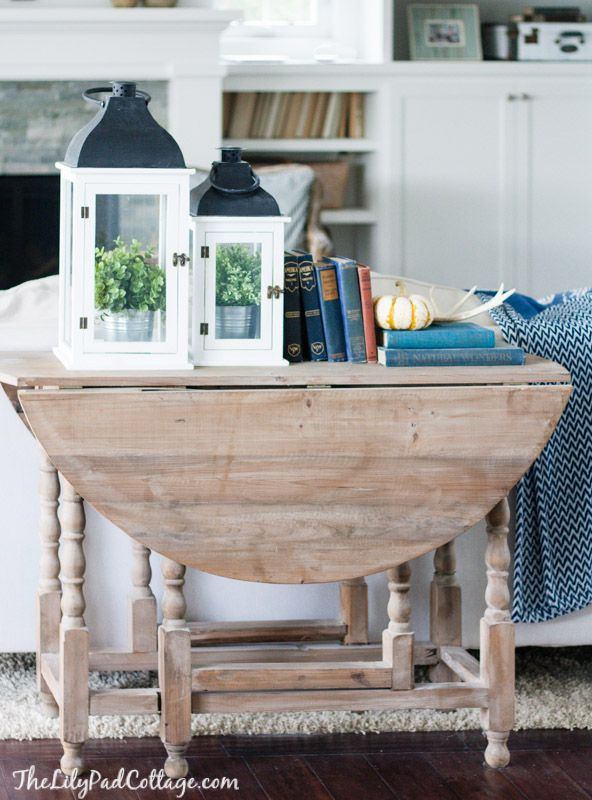 Fall Home Tour - The Lilypad Cottage. Driftwood stain to out drop leaf table, would look great behind couch in living