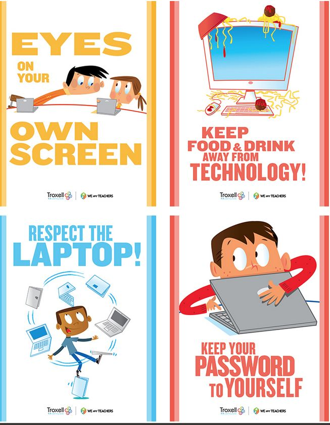 Setting routines for using technology will pay off all year long. And a little visual reinforcement doesn't hurt! Download these eight mini-posters for an instant bulletin board.
