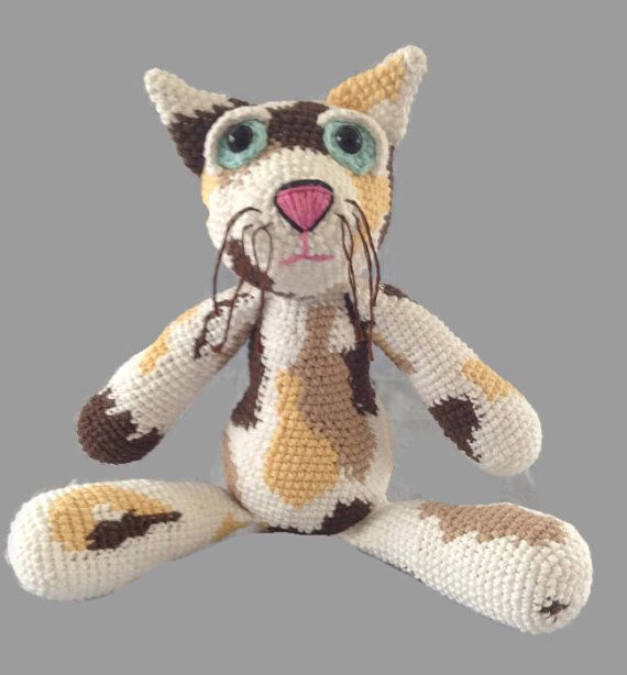 crochet calico cat doll fiber art plush OOAK by AWickedStitchery