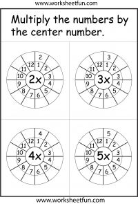 Times Table Worksheet – 2 -12 Times Tables – Six Worksheets