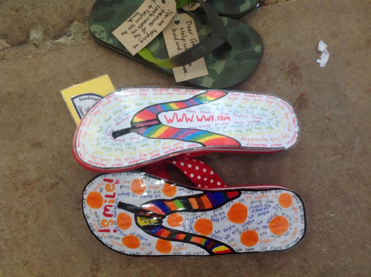 Part of a project called 'Walking with Jesus through the world? At the Norwich Cathedral School days.Children wrote prayers onto shoes.