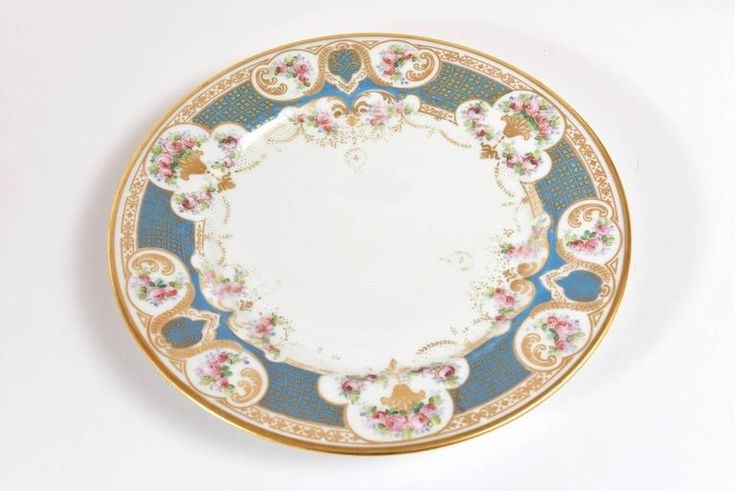 Pretty Turquoise and Rose Pink Dinner Plates, Antique, circa 1900 5