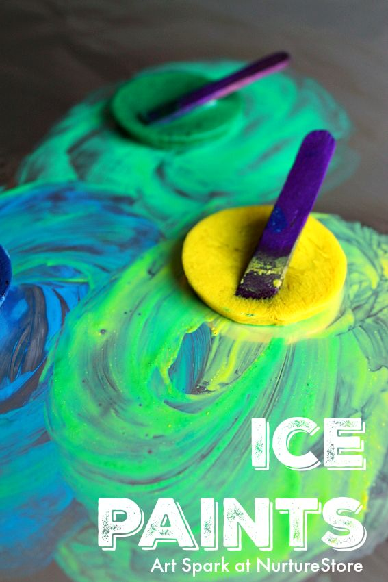 how to make ice paint :: sensory play with ice painting :: process art ideas