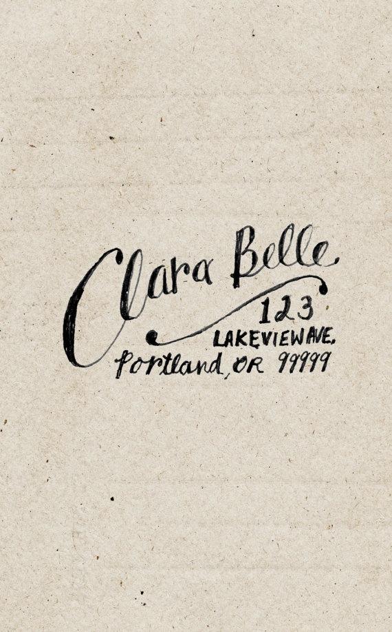custom return address label - hand drawn personalized name & address - clara belle style