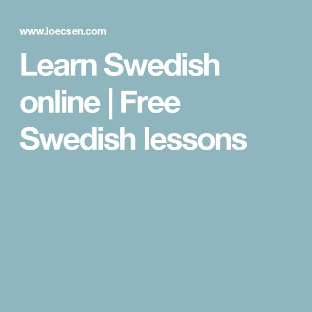 Learn Swedish online | Free Swedish lessons