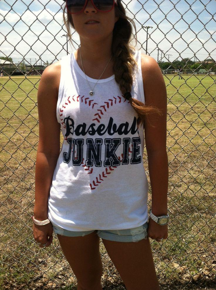 Baseball Alley Designs - Baseball Junkie Baseball Tees and Tanks, $22.00 (http://baseballalley.net/baseball-junkie-baseball-tees-and-tanks/)