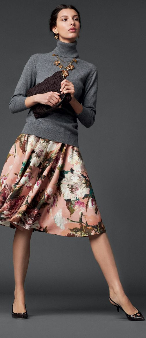 Love the necklace with the turtleneck - from BuyerSelect --- and I love the print, shape and length of the skirt