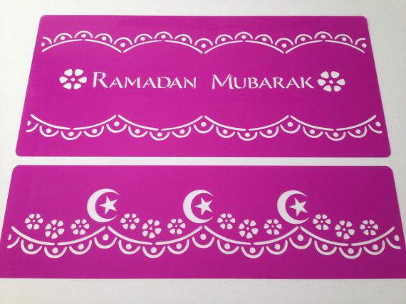 Ramadan mubarak cake band  stencil + cake side  ! - Eid Ramadan Kareem cake decorating stencils Islamic