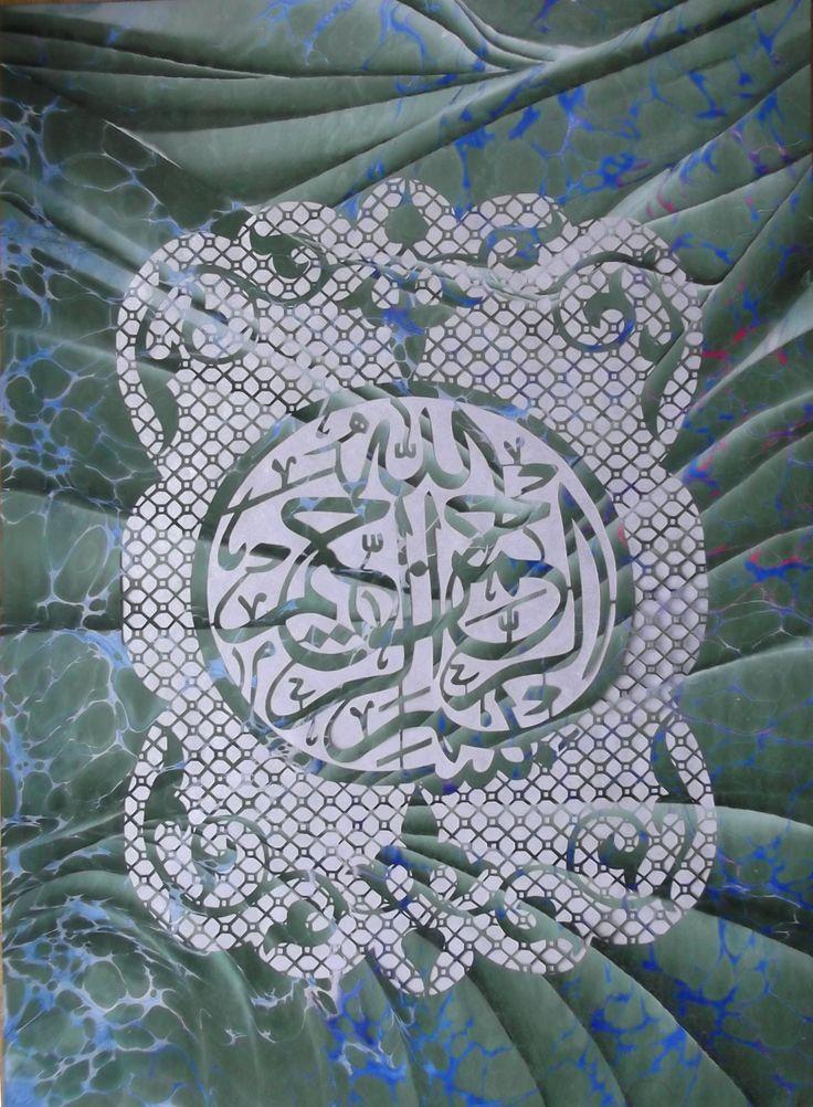 Kağıt oyma Hat İslamic art Ebru Marbligart Katı Sayitkarabulut Handmade