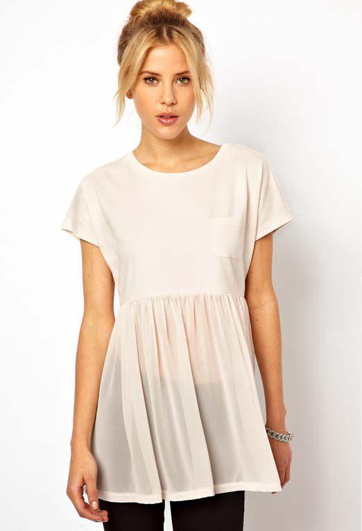 white short sleeve contrast sheer chiffon tshirt us2203