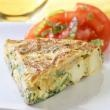 Spanish Tortilla. Substitute diced cooked cauliflower for potatoes and it's almost carb free!