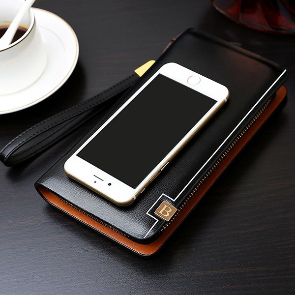 Pu Leather Clutch Bag Business 8 Card Slots Wallet Phone Bag For Men Shopping Online - NewChic