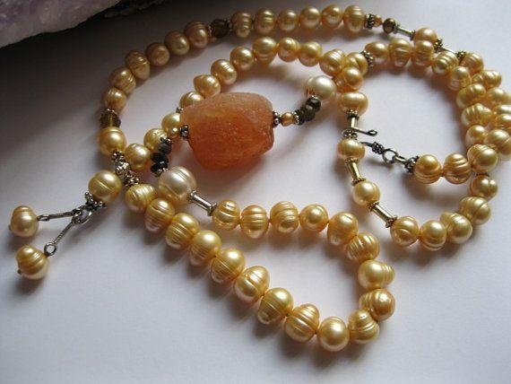 Apricot Tones. Carnelian Pearl Tourmaline Amber Topaz