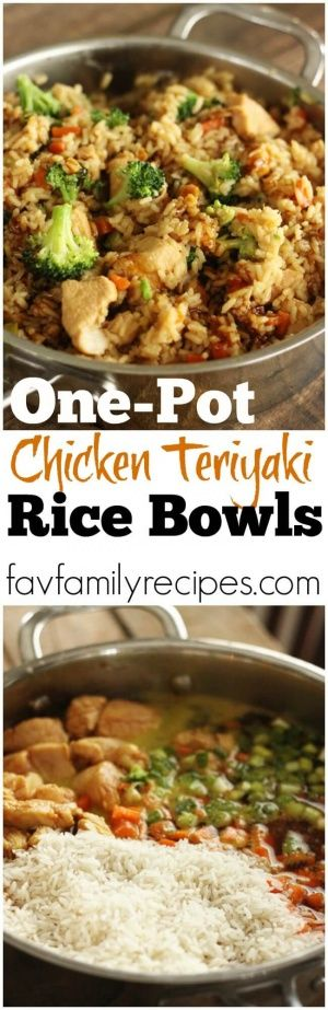 These one pot chicken teriyaki rice bowls make for the EASIEST week-night meal. You throw everything in one pot and let it simmer until finished! via @favfamilyrecipz