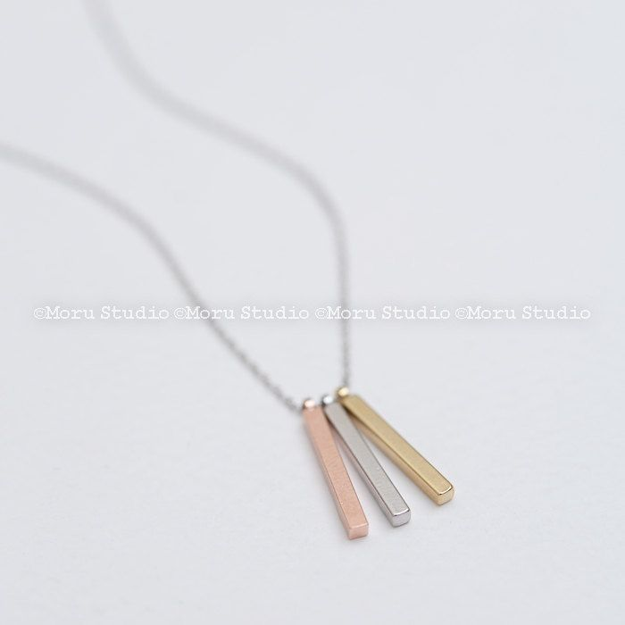 Ultra Dainty 4 Sided Vertical Initial Triple Bar Necklace/ Three Sisters Gold,Silver,Rose Gold Bar,Graduation Gifts, Initial Necklace NBR039 by MoruStudio on Etsy